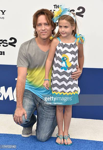 Larry Birkhead and Dannielynn Birkhead attend the premiere of Columbia Pictures' 'Smurfs 2' at Regency Village Theatre on July 28 2013 in Westwood...