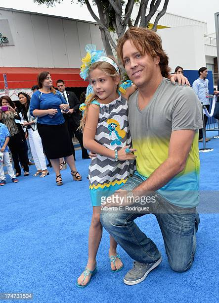 Larry Birkhead and Dannielynn Birkhead attends the premiere Of Columbia Pictures' 'Smurfs 2' at Regency Village Theatre on July 28 2013 in Westwood...