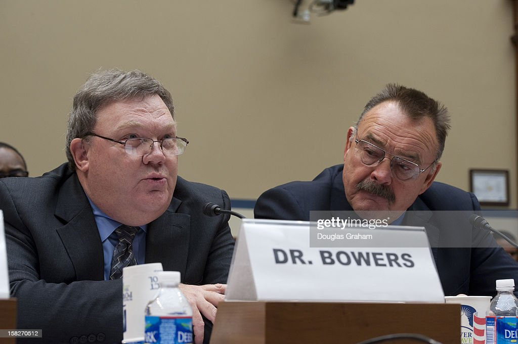 Larry Bowers, chief science officer at the U.S. Anti-Doping Agency and Pro Football Hall of Famer Dick Butkus during the full committee hearing on 'HGH (Human Growth Hormone) testing in the NFL (National Football League)on December 12, 2012.