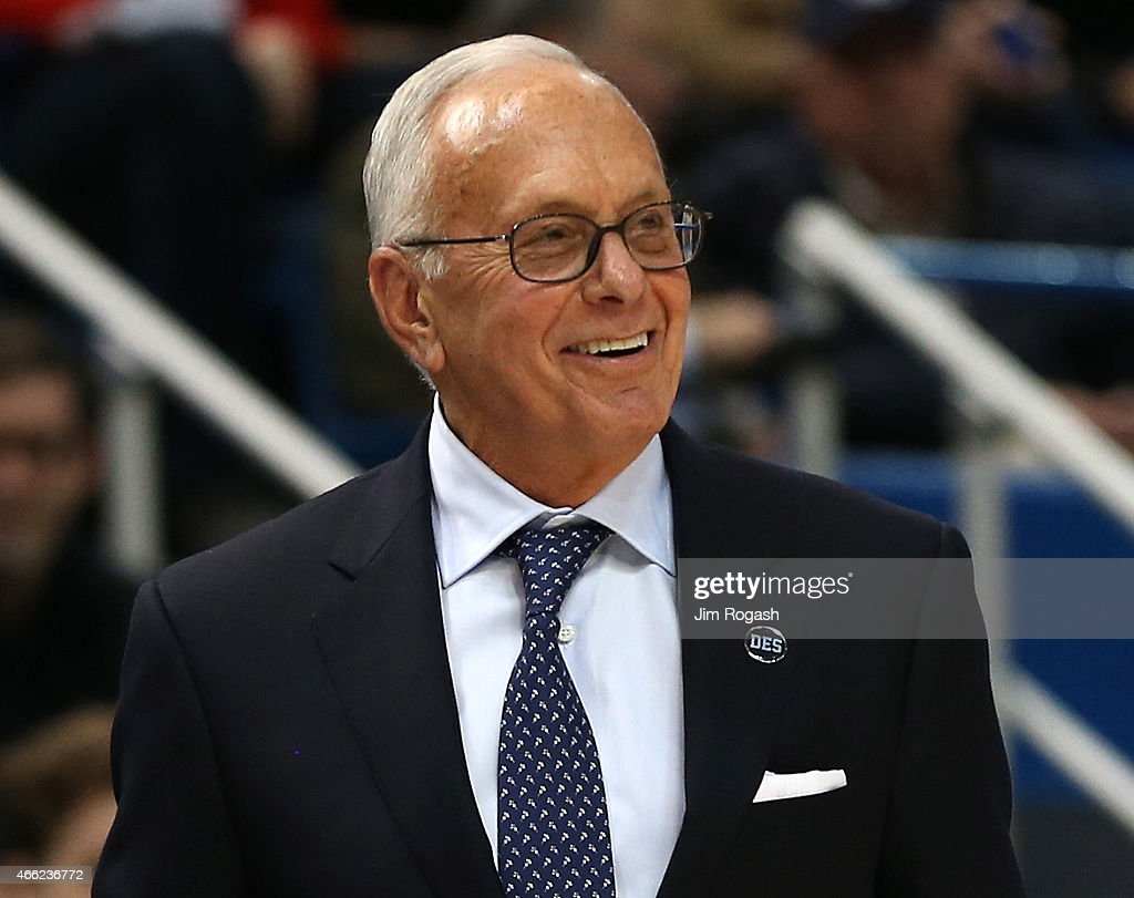 Larry Brown of the Southern Methodist Mustangs smiles a few moments before defeating the Temple Owls during a semifinal game of the American 2015 Championships at the XL Center on March, 14, 2015 in Hartford, Connecticut.