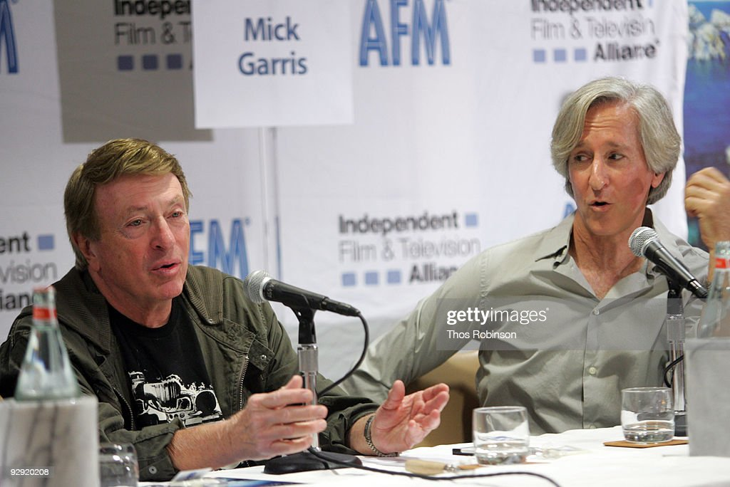 <a gi-track='captionPersonalityLinkClicked' href=/galleries/search?phrase=Larry+Cohen&family=editorial&specificpeople=238848 ng-click='$event.stopPropagation()'>Larry Cohen</a> and Mick Garris attend the 2009 American Film Market - Day 6, Writing for the Genre World at the Le Merigot Hotel on November 9, 2009 in Santa Monica, California.