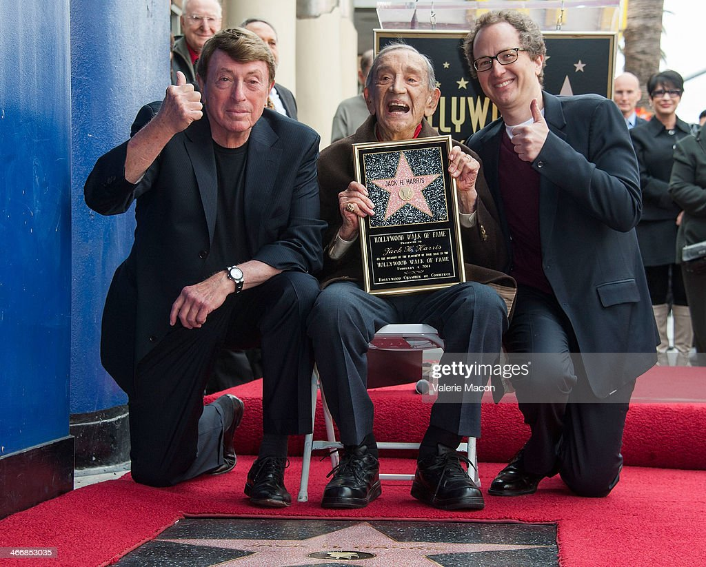 Larry Cohen Jack H Harris and Brian Witten attend the ceremony honoring Jack H Hasrris on THe Hollywood Walk of Fame on February 4 2014 in Hollywood...