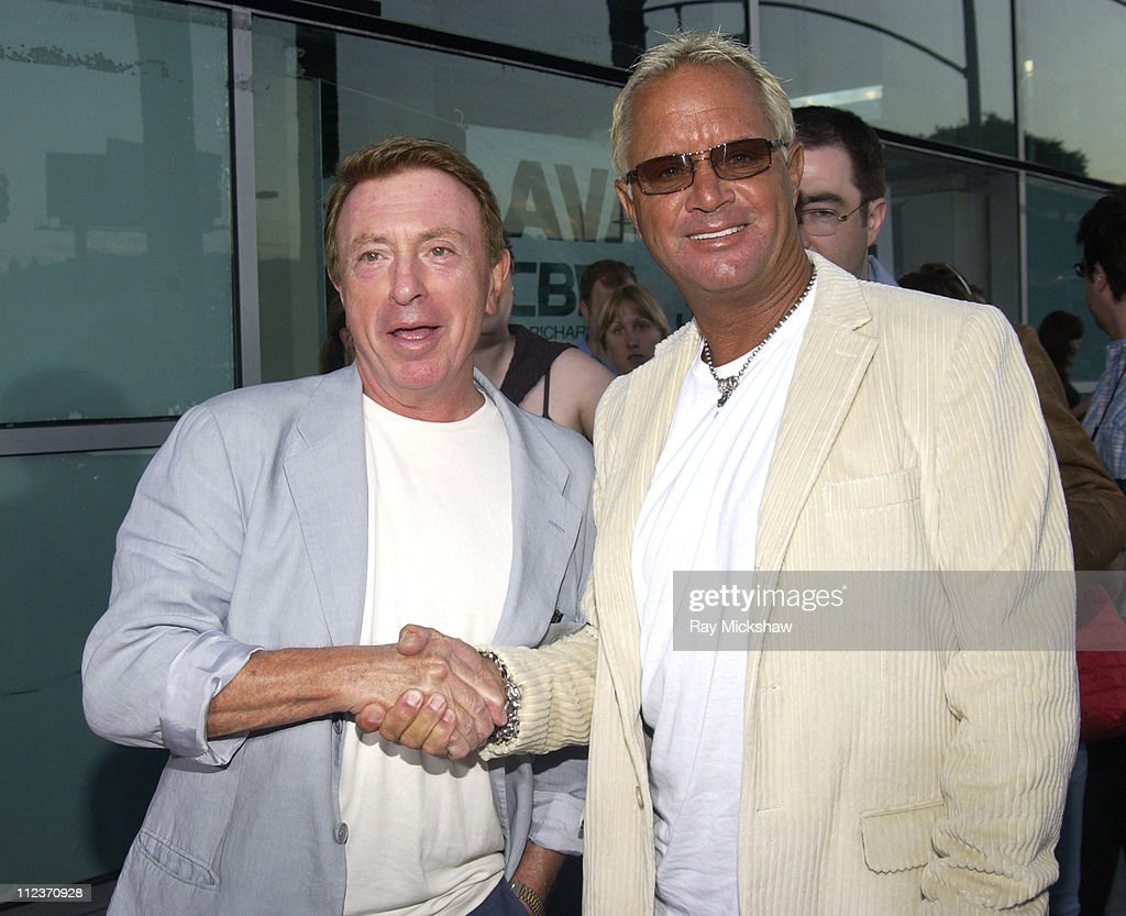 Larry Cohen writer and David R Ellis director during 'Cellular' New Line Cinema Premiere Red Carpet at Cinerama Dome in Los Angeles California United...