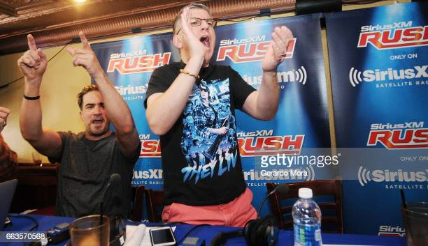 Larry Dallas and Dave LaGreca interact with the audience during the SiriusXM's Busted Open Live From WrestleMania 33 on April 1 2017 in Orlando City