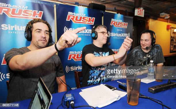 Larry Dallas Dave LaGreca and Doug Mortman interact with the audience during the SiriusXM's Busted Open Live From WrestleMania 33on April 1 2017 in...