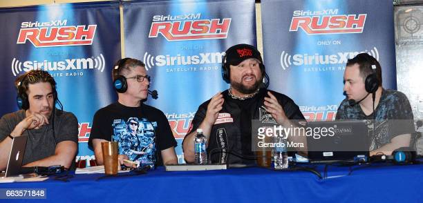 Larry Dallas Dave LaGreca Wrestler Bully Ray and Doug Mortman speak during the SiriusXM's Busted Open Live From WrestleMania 33on April 1 2017 in...