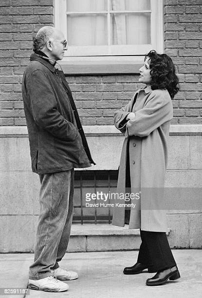 Larry David and and Julia Louis Dreyfus on the set of shooting the last few episodes of the hit television show Seinfeld 1998 in Los Angeles...