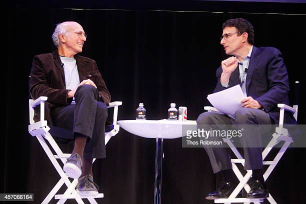 Larry David and David Remnick participate in a conversation during the New Yorker Festival on October 11 2014 in New York City