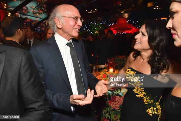 Larry David and Julia LouisDreyfus attend the HBO's Official 2017 Emmy After Party at The Plaza at the Pacific Design Center on September 17 2017 in...