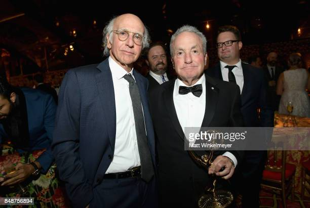 Larry David and Lorne Michaels attend HBO's Post Emmy Awards Reception at The Plaza at the Pacific Design Center on September 17 2017 in Los Angeles...