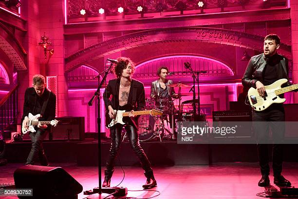 LIVE 'Larry David' Episode 1695 Pictured Adam Hann Matthew Healy Ross MacDonald and George Daniel of musical guest The 1975 perform on February 6 2016