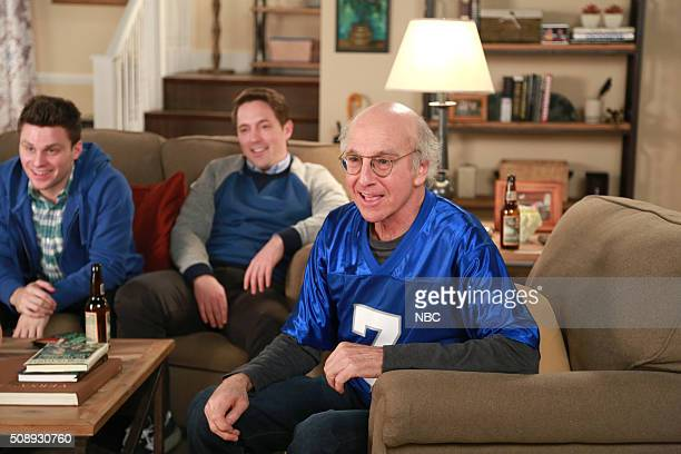 LIVE 'Larry David' Episode 1695 Pictured Jon Rudnitsky Beck Bennett and Larry David during the 'Totinos Commercial' sketch on February 6 2016