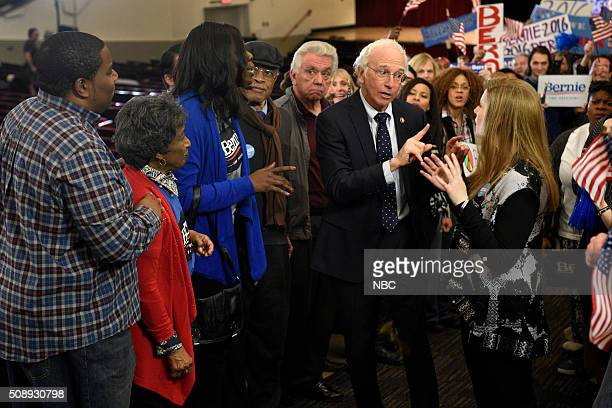 LIVE 'Larry David' Episode 1695 Pictured Kenan Thompson Leslie Jones Larry David as Senator Bernie Sanders and Vanessa Bayer during the 'Bern Your...