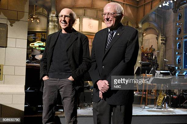 LIVE 'Larry David' Episode 1695 Pictured Larry David and Senator Bernie Sanders introduce musical guest The 1975 on February 6 2016