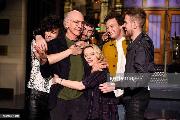 LIVE 'Larry David' Episode 1695 Pictured Matthew Healy Ross MacDonald George Daniel and Adam Hann of musical guest The 1975 surround actor Larry...