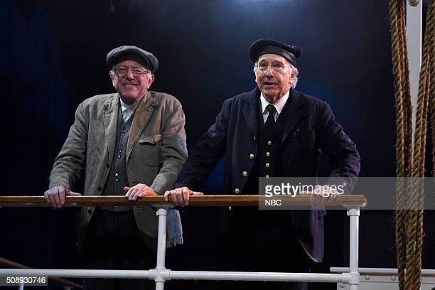 LIVE 'Larry David' Episode 1695 Pictured Senator Bernie Sanders and Larry David during the 'Steam Ship' sketch on February 6 2016