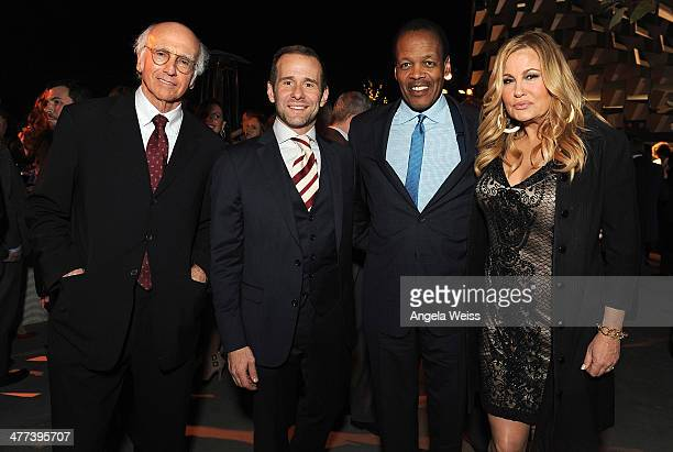 Larry David Max Mutchnick M Lee Pelton and Jennifer Coolidge attend the Emerson College Los Angeles Grand Opening Gala on March 8 2014 in Los Angeles...