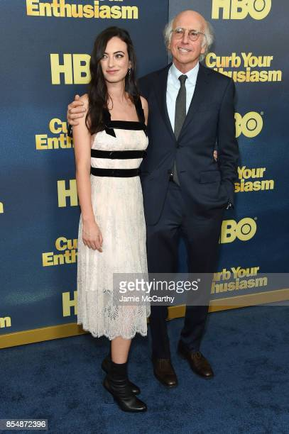 Larry David poses with his daughter Cazzie David at the 'Curb Your Enthusiasm' season 9 premiere at SVA Theater on September 27 2017 in New York City