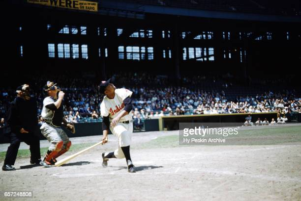 Larry Doby of the Cleveland Indians hits a pop up during an MLB game against the Chicago White Sox on May 26 1955 at Cleveland Municipal Stadium in...