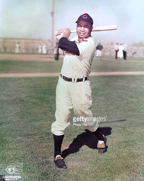 Larry Doby of the Cleveland Indians poses for an action portrait before a season game Larry Doby played for the Cleveland Indians from 19471955
