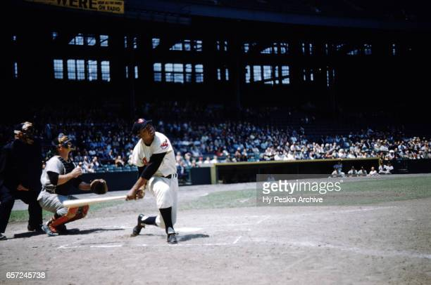 Larry Doby of the Cleveland Indians swings at a pitch during an MLB game against the Chicago White Sox on May 26 1955 at Cleveland Municipal Stadium...