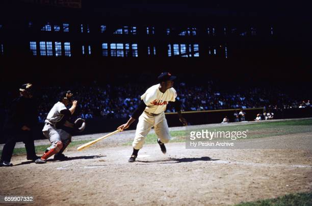 Larry Doby of the Cleveland Indians swings at the pitch during an MLB game against the Chicago White Sox on May 26 1955 at Cleveland Municipal...