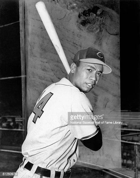 Larry Doby poses with his bat before a season game Larry Doby played for the Cleveland Indians from 19471955 then in 1958