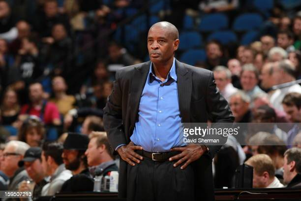 Larry Drew Head Coach of the Atlanta Hawks looks on during the game against the Minnesota Timberwolves on January 8 2013 at Target Center in...