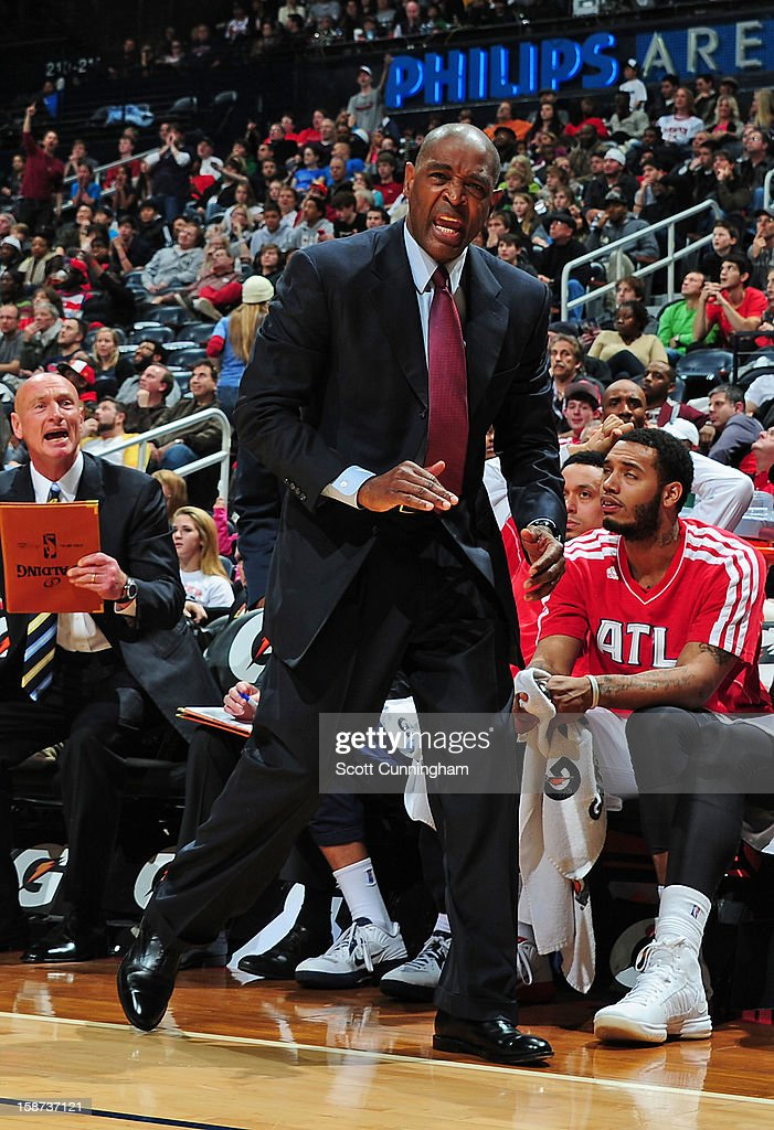 Larry Drew Head Coach of the Atlanta Hawks reacts during the game against the Detroit Pistons on December 26, 2012 at Philips Arena in Atlanta, Georgia.