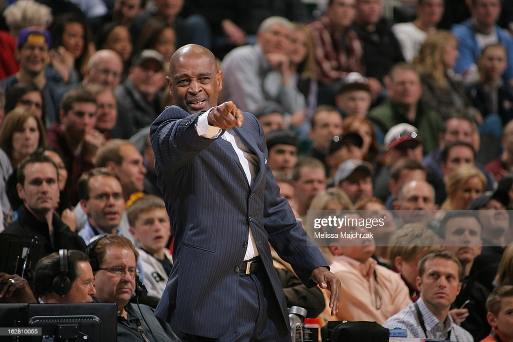 Larry Drew head coach of the Atlantic Hawks makes calls to his team during play against the Utah Jazz at Energy Solutions Arena on February 27, 2013 in Salt Lake City, Utah.