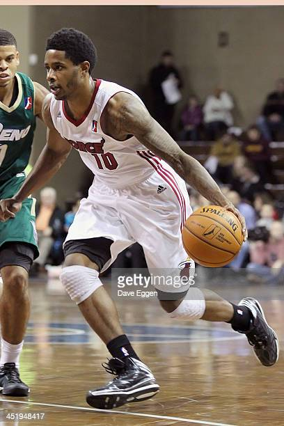 Larry Drew II from the Sioux Falls Skyforce drives to the basket against Ray McCallum from the Reno Bighorns in their NBA DLeague game November 22...