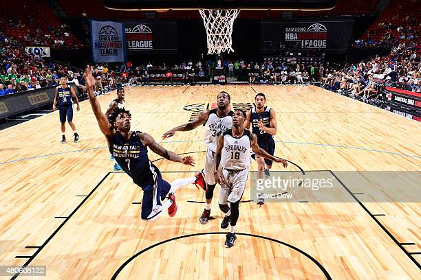 Larry Drew II of the New Orleans Pelicans shoots the ball against the Brooklyn Nets during the 2015 NBA Las Vegas Summer League game on July 13 2015...