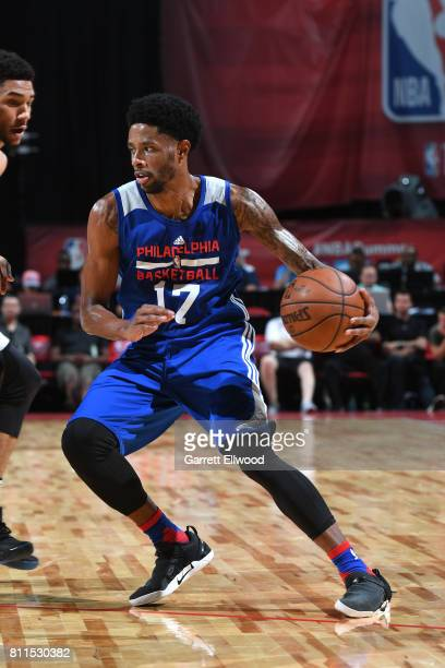 Larry Drew II of the Philadelphia 76ers handles the ball against the San Antonio Spurs during the 2017 Las Vegas Summer League on July 9 2017 at the...