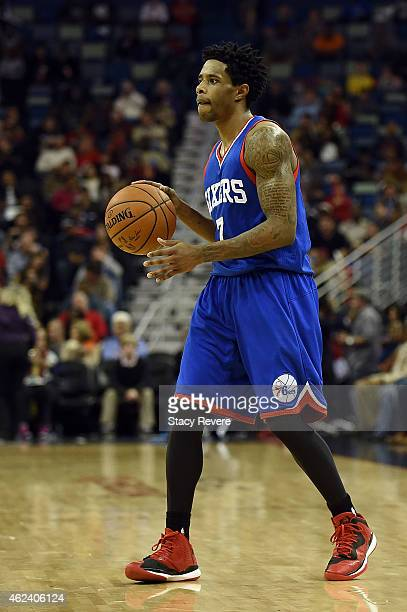 Larry Drew II of the Philadelphia 76ers handles the ball during the second half of a game against the New Orleans Pelicans at the Smoothie King...