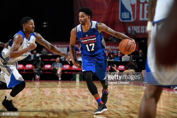 Larry Drew II of the Philadelphia 76ers handles the ball during the game against the Golden State Warriors during the 2017 Las Vegas Summer League on...