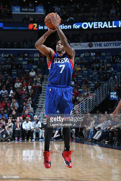Larry Drew II of the Philadelphia 76ers shoots against the New Orleans Pelicans on January 26 2015 at Smoothie King Center in New Orleans Louisiana...