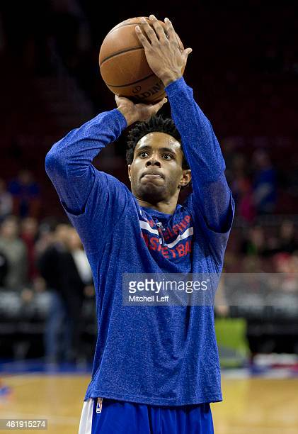 Larry Drew II of the Philadelphia 76ers warms up prior to the game against the New York Knicks on January 21 2015 at the Wells Fargo Center in...