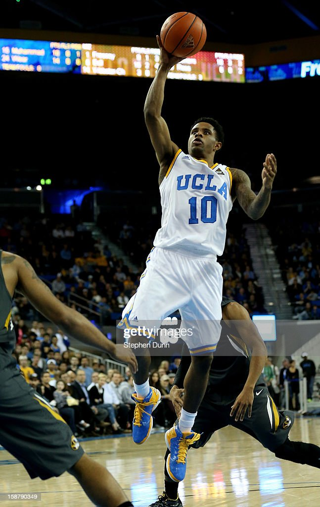 Larry Drew II #10 of the UCLA Bruins shoots against the Missouri Tigers at Pauley Pavilion on December 28, 2012 in Los Angeles, California. UCLA won 97-94 in overtime.
