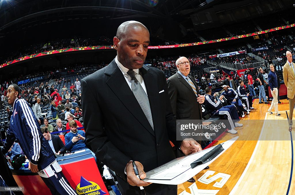 Larry Drew of the Atlanta Hawks before the game against the Charlotte Bobcats at Philips Arena on December 13 ,2012 in Atlanta, Georgia.