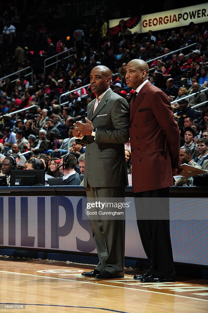 Larry Drew of the Atlanta Hawks stands on the side line during the game against the Philadelphia 76ers on March 6, 2013 at Philips Arena in Atlanta, Georgia.