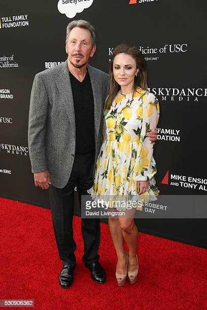Larry Ellison and Nikita Kahn arrive at the 3rd Biennial Rebels with a Cause Fundraiser on May 11 2016 in Santa Monica California