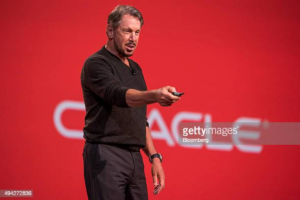 Larry Ellison chairman of Oracle Corp speaks during the Oracle OpenWorld 2015 conference in San Francisco California US on Sunday Oct 25 2015 Oracle...