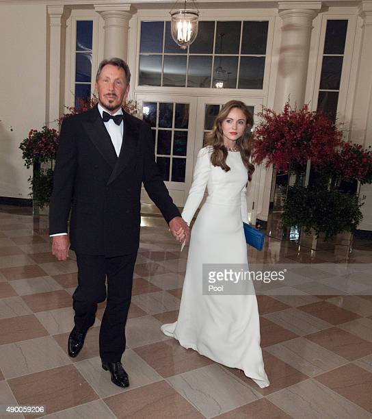 Larry Ellison Executive Chairman and CTO Oracle and Nikita Kahn arrive at the State Dinner for China's President President Xi and Madame Peng Liyuan...