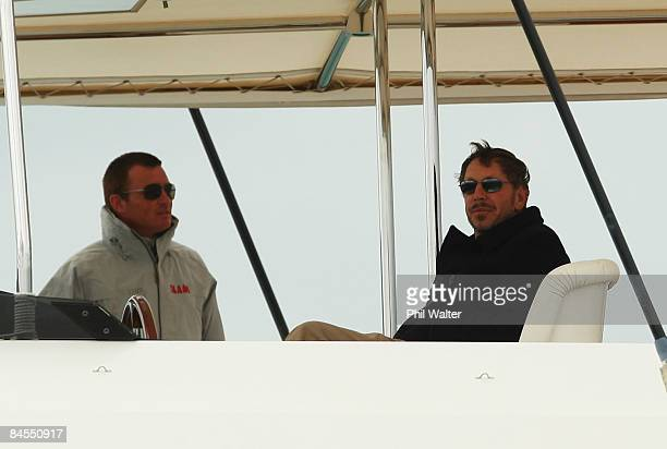Larry Ellison founder of Oracle Racing watches the action from his superyacht during day one of the Louis Vuitton Pacific Series held on the...