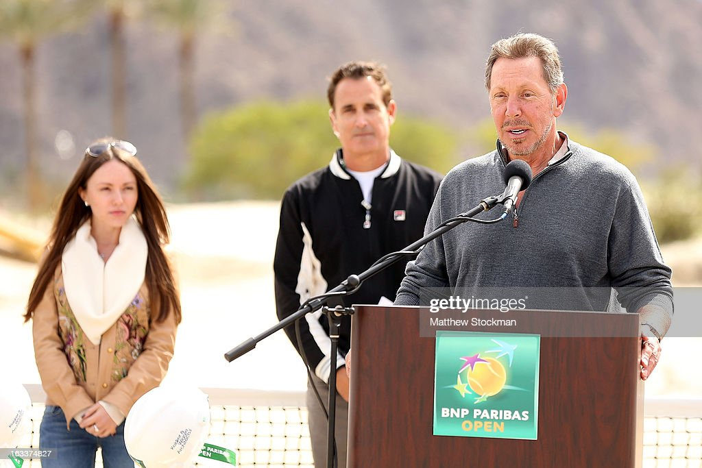 Larry Ellison, tournament owner and CEO of Oracle, addresses the media and dignitaries in attendence at the ground breaking ceremony for the Indian Wells Tennis Garden expansion during the BNP Paribas Open at the Indian Wells Tennis Garden on March 8, 2013 in Indian Wells, California.