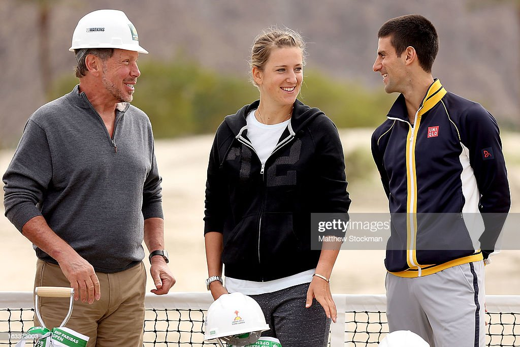 Larry Ellison, tournament owner and CEO of Oracle, chats with Victoria Azarenka of Belarus and Novak Djokovic of Serbia at the ground breaking ceremony for the Indian Wells Tennis Garden expansion during the BNP Paribas Open at the Indian Wells Tennis Garden on March 8, 2013 in Indian Wells, California.