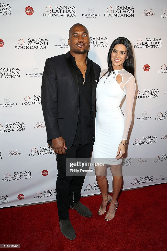 Larry English and Nicole Williams attend a fundraising event hosted by Sanaa Lathan at Beso on March 15 2016 in Hollywood California