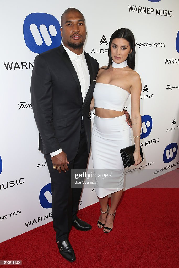 Larry English and Nicole Williams attends Warner Music Group's annual Grammy celebration at Milk Studios Los Angeles on February 15 2016 in Los...