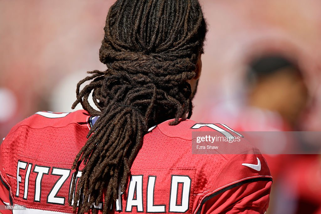 <a gi-track='captionPersonalityLinkClicked' href=/galleries/search?phrase=Larry+Fitzgerald&family=editorial&specificpeople=183380 ng-click='$event.stopPropagation()'>Larry Fitzgerald</a> #11 of the Arizona Cardinals stands on the sidelines before their game against the San Francisco 49ers at Candlestick Park on October 13, 2013 in San Francisco, California.