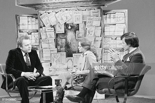 Larry Flynt publisher of Hustler magazine Jane Pauley NBC Today Show and Tom Brokaw from Today Show Pauley and Brokaw interview Flynt about his...